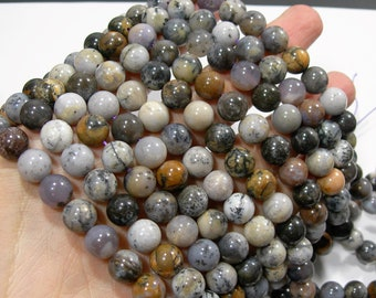 Amethyst Sage Agate - 10 mm round -  full strand - 39 beads - USA MINED - Dendritic Amethyst Sage - RFG1760