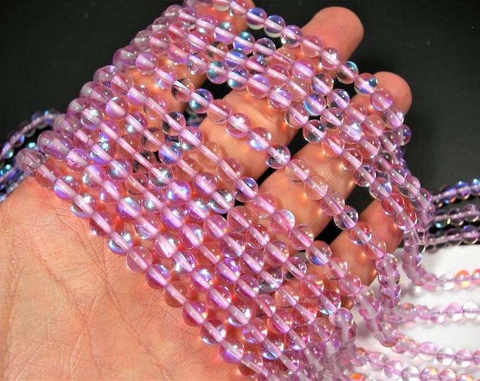 Lavender Purple  Mystic aura quartz - 6mm round - Holographic quartz - 61 Beads - full strand - RFG1923