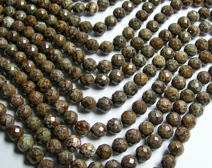 Obsidian - 8 mm faceted - 48 beads per strand - brown snowflake obsidian - A quality - RFG370