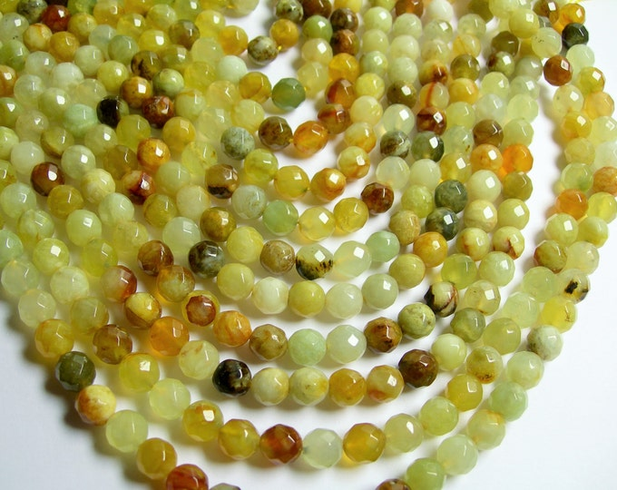 New Jade 8 mm  faceted round - A quality - 50 beads per strand -  full strand - flower jade - RFG579