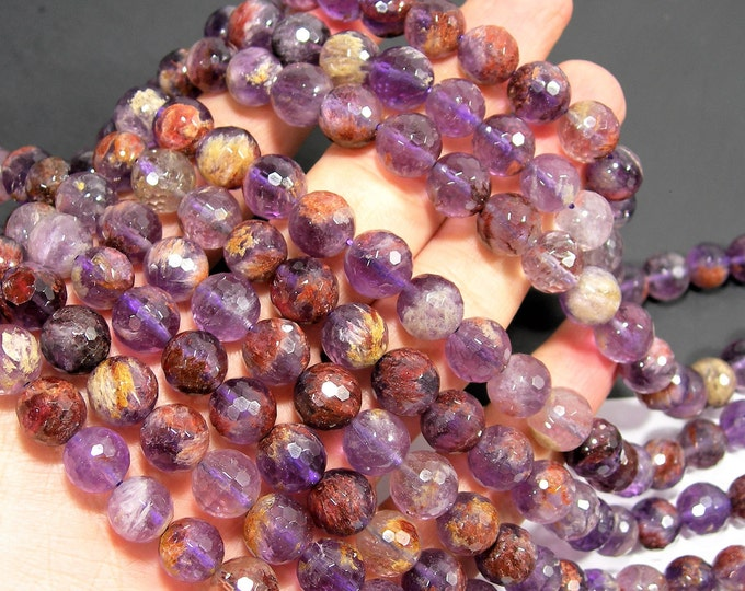 Super seven - Cacoxenite amethyst - 10mm faceted - full strand - 38 beads - Purple Rutilated Quartz - RFG2001
