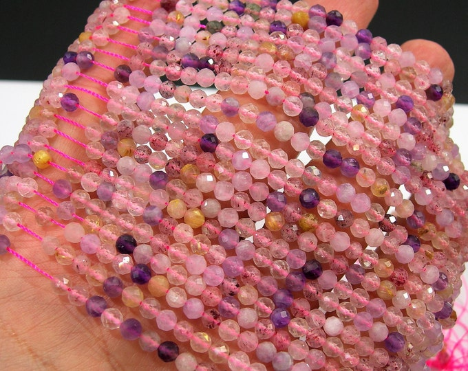 Super seven - 4mm micro faceted  beads - 1 full strand - 100 beads  - PG203