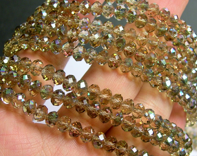 Crystal faceted rondelle - 96 beads - 6mmx 4mm - AA quality - topaz ab sparkle - full strand - CRV93