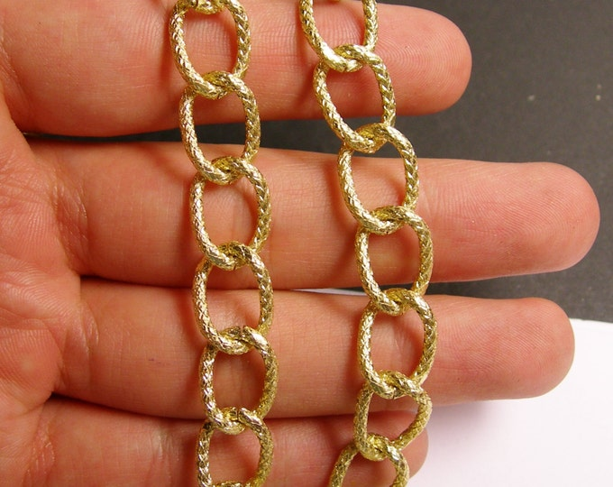 Gold chain - lead free nickel free won't tarnish - 1 meter - 3.3 feet - aluminum chain  - NTAC64