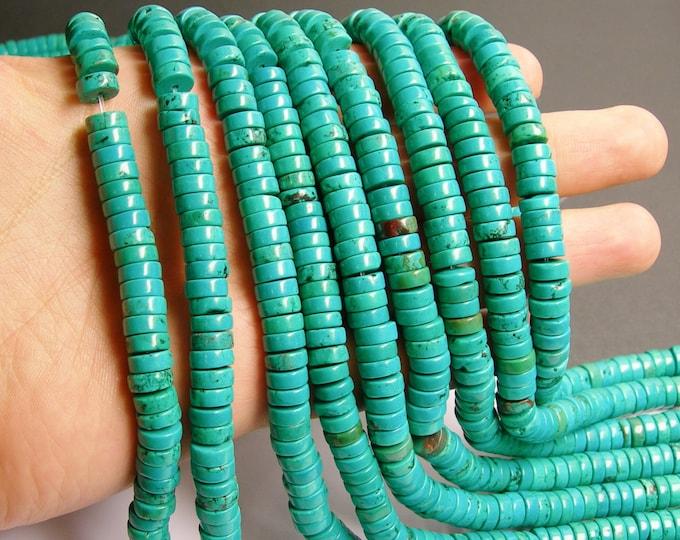 Howlite turquoise - 8mmx3mm  heishi beads - 1 full strand - 120 pcs - AA quality