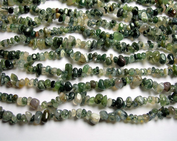 Moss agate - 36 inch - A quality - rounded chip nugget  - PSC312