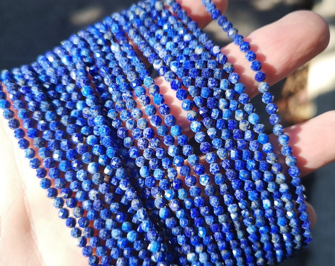 Lapis Lazuli - 3.5mm faceted round beads - full strand  110 beads - micro faceted Lapis Lazuli  - PG391