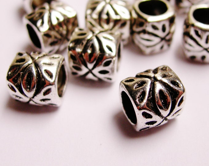 Silver color beads hypoallergenic -  20 pcs -  large hole - ASA99