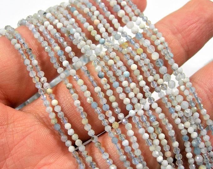 Aquamarine - 2mm faceted round beads -  full strand - 195 beads - PG171