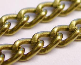 Brass  chain - lead free nickel free won't tarnish - 1 meter-3.3 feet made from aluminum- CA 13