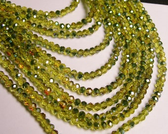 Crystal faceted rondelle - 4mm - 100 beads - sparkle olive - ab - full strand - NCRF7