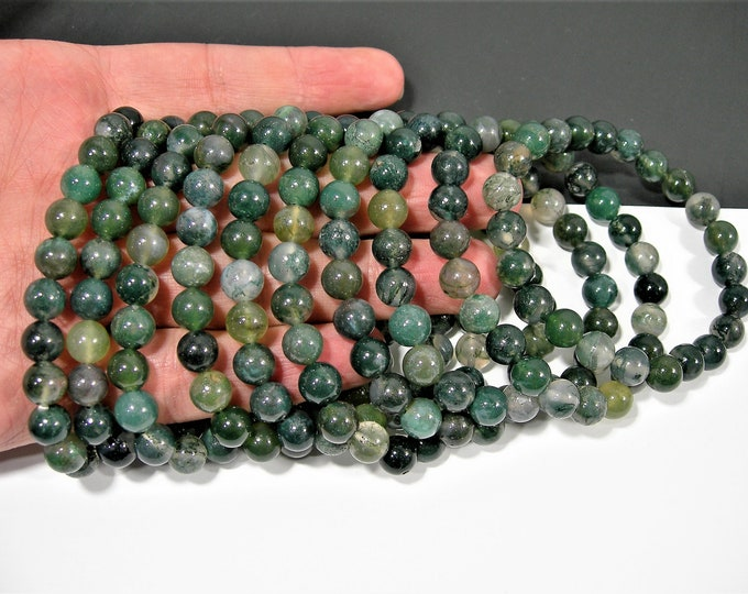 Moss agate - 8mm round beads - 23 beads - 1 set - Wholesale deal - HSG138