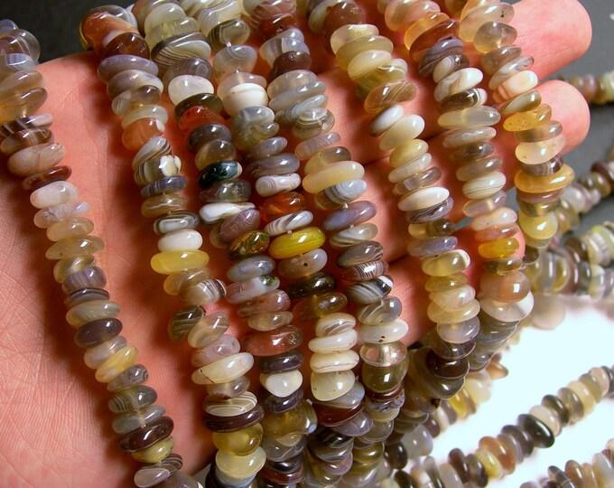 Botswana agate - nugget disc chip - bead - full strand - full strand - 10mm -  PSC148
