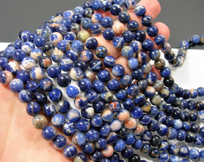 Sodalite -  8mm(8.3mm) round beads - full strand - 46  beads -  orange inclusion Sodalite -RFG2164