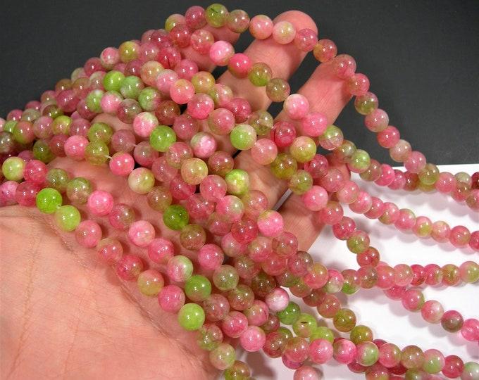 Malaysia Jade - 8 mm round beads - full strand - 48 beads - Dual tone watermelon strawberry Jade - RFG2018