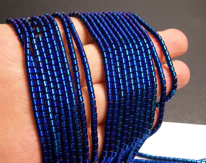 Hematite mystic blue - 3x3mm tube beads - full strand - 132 beads - AA quality -  - PHG144