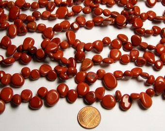 Red jasper briollete pebble beads -  1 full strand - A quality - 50 beads - PCS45