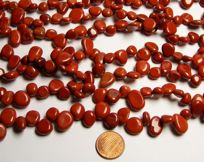 Red jasper briollete pebble beads -  1 full strand - A quality - 50 beads - PCS45