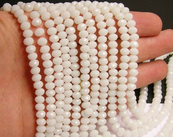 Crystal faceted rondelle - 100 beads -  6 mm - AA quality - white - full strand - WHOLESALE DEAL - DAC34