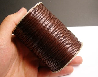 Polyester wax cord - 1mm - high quality - 160 meter - 524 foot - brown - full roll -  PEC9