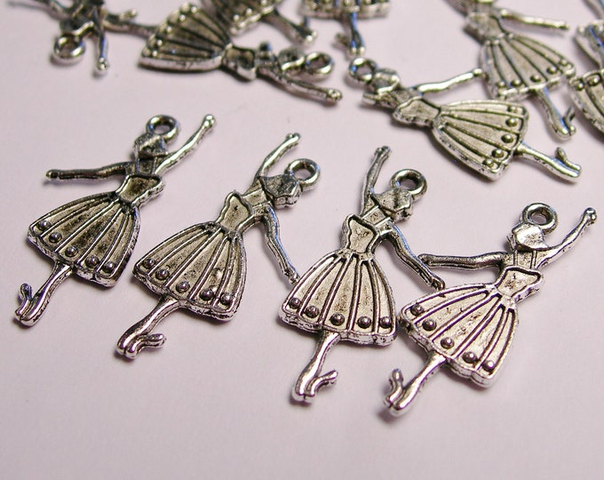 Ballerina Silver color charm hypoallergenic- 25 pcs - engraved on both side - ZAS 103