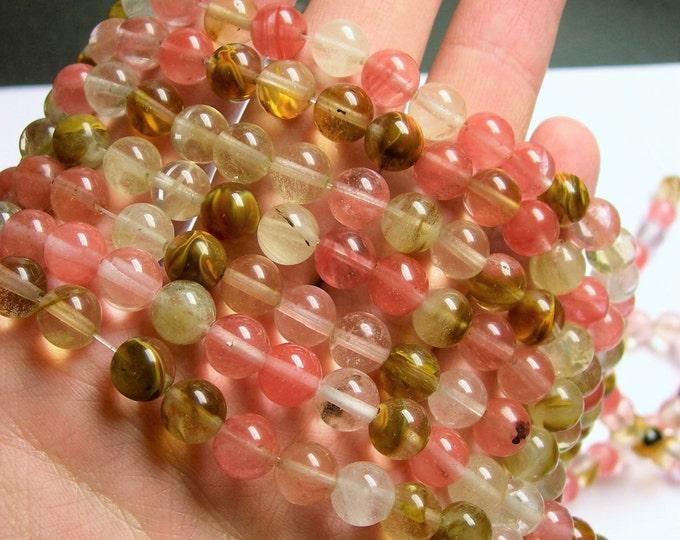 Fire Cherry quartz - 8 mm round bead - full strand - 48 bead - WHOLESALE DEAL - RFG906