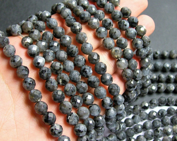 Larvikite - 8mm faceted round beads -1 full strand - 48 beads - AA Quality - black labradorite - WHOLESALE DEAL - RFG444