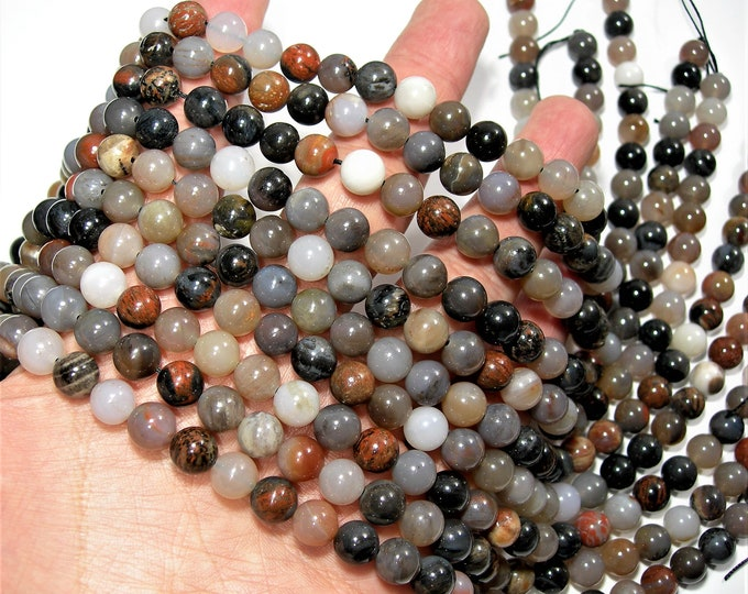 Petrified wood - 8mm round beads -1 full strand - 49 beads - Usa mined - Arizona mined  - RFG1724