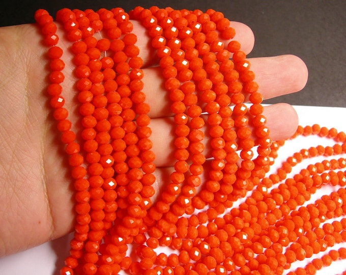 Crystal faceted rondelle - 90 beads -  6 mm - A quality - orange  - full strand - CRV96