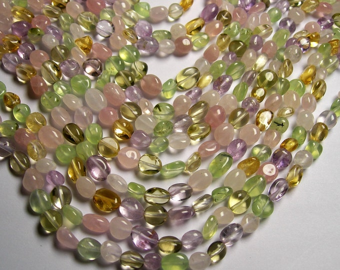 Amethyst Rose quartz Citrine Prehnite Mix - pebble - nugget - 1 full strand  -  PSC281