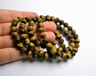 Tiger eyes - 8mm round beads - matte -  23 beads - 1 set  - HSG25