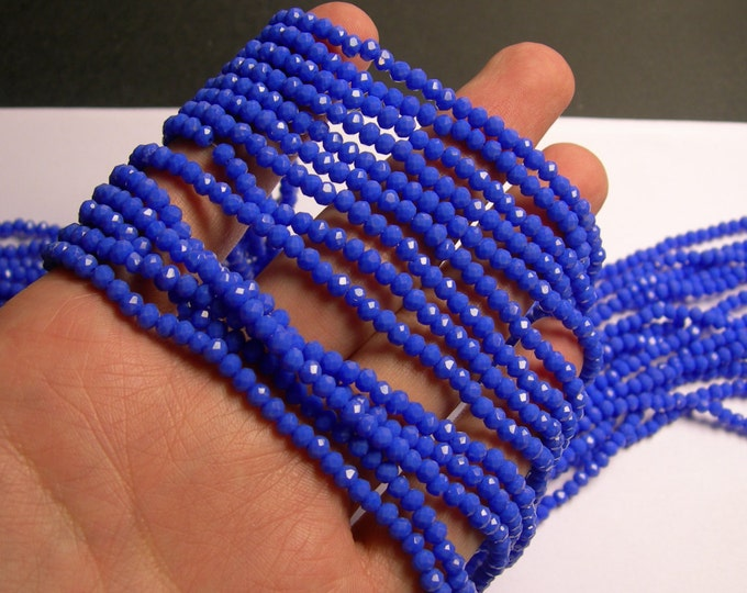 Crystal faceted rondelle - 145 pcs - full strand - 4 mm - A quality - blue - CRV117