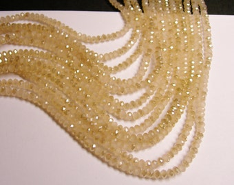 Crystal faceted rondelle - 4mm - 100 beads - sparkle soft beige - ab - full strand - NCRF12