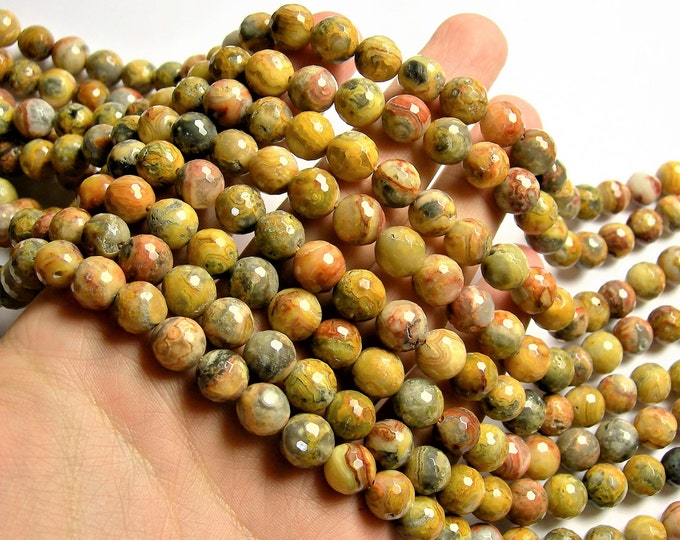 Crazy Lace Agate - 10mm faceted round -  full strand - 40 beads - RFG1302