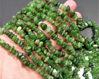 BC Jade gemstone - chip stone - pebble-  nugget - bead - 34 inch strand - Canada Jade nephrite - RFG1854