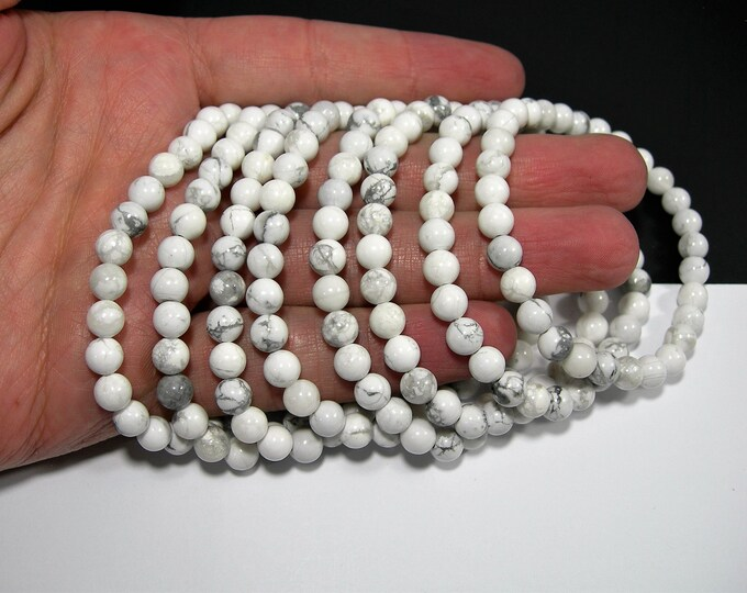 White Howlite turquoise - 6mm round beads - 29 beads - 1 set - A quality - HSG132