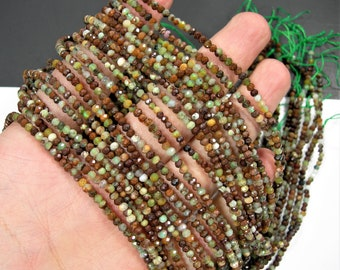 African Green opal - 2mmx3mm micro faceted rondelle beads - full strand - 168 beads - PG281