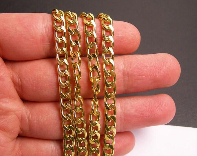Gold chain -  flat curb chain - 1 meter - 3.3 feet - aluminum chain - NTAC117