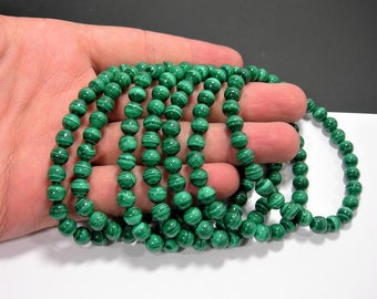 Malachite - 6mm round beads - 29 beads - 1 set - AA quality - MINED Malachite - HSG191