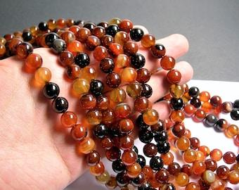 Sardonyx Agate 10mm  round  beads - 1 full strand - 39 beads per strand - AA quality - RFG1402