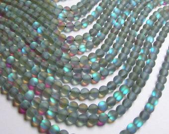Mystic aura quartz grey - 6mm round - Holographic quartz - matte - 62 Beads - full strand - RFG833