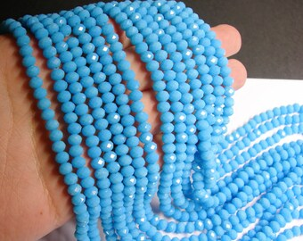 Crystal faceted rondelle - blue -  90 beads -  6 mm - A quality - matte baby blue  - full strand - CRV97