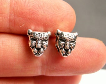 24 Panther beads  - Silver tone Panther head beads - double holed  - ASA150