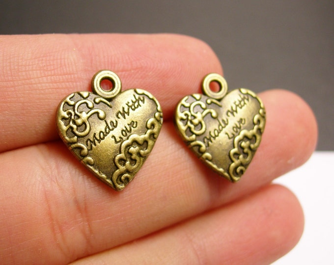 12 made with love charms - 12 pcs - antique bronze brass heart  charms -  BAZ68