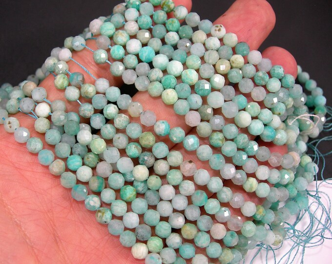 Amazonite - 5mm(4.9mm) micro faceted round beads - full strand  - 80 beads - RFG2083