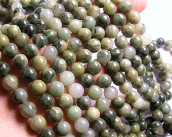 Green line quartz - 10mm round beads - 1 full strand - 39 beads - A quality - RFG1099