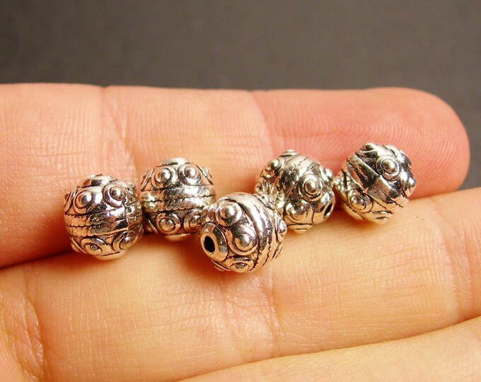 12 Tibetant style bead Silver color - hypoallergenic - 12 pcs -  9mm -  ASA97