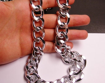 Silver chain - lead free nickel free won't tarnish - 1 meter - 3.3 feet - aluminum chain -  big curb chaIn - NTAC63