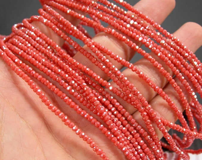 Crystal - rondelle faceted 3mm x 2mm beads - 200 beads - AA quality - Orange Ab  - CAA2G245
