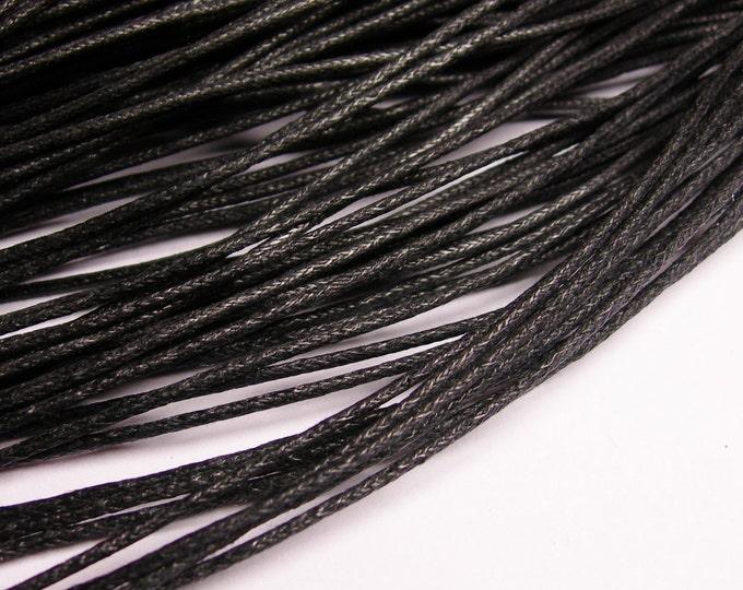 Wax cotton cord - 1.5mm -  black - 90 meters - 295 foot - 1.5mm wax cord